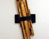 FORZA OBLIQUA SOSPESA, legno e ferro, cm 200x60x10, 2009
