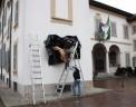 BRUTTA NUVOLA NERA, ecopelle e legno, cm 300x140x40, 2012