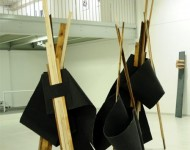 DOVE CADE L'ORIZZONTE, feltro e legno, misure variabili, 2012