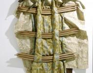NON TI SCORDAR DI ME, tessuto e legno, cm 200x120x10, 2012